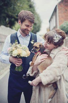Vintage fur + birdcage veil + gorgeous bouquet + adorable couple + sweet pup = swoon!