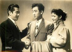 Press photo for A Man Among Men (顔役無用男性No.1), also known as No. 1 Man, 1955, directed by Kajiro Yamamoto (山本嘉次郎) and starring Toshiro Mifune (三船敏郎), Koji Tsuruta (鶴田浩二) and Mariko Okada (岡田茉莉子).