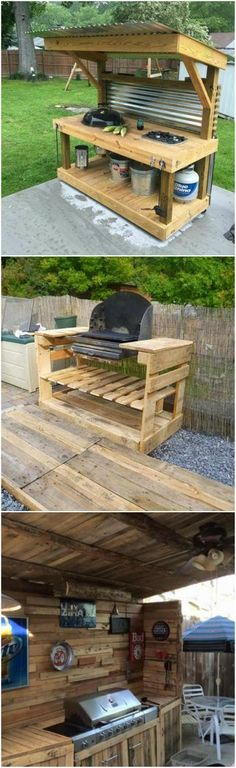 Upcycled Pallet Outdoor Grill Upcycled Pallet Outdoor Grill The post Upcycled Pallet Outdoor Grill appeared first on Pallet Diy. Backyard Kitchen, Outdoor Kitchen Design, Backyard Patio, Simple Outdoor Kitchen, Outdoor Kitchen Plans, Outdoor Kitchens, Backyard Projects, Outdoor Projects, Diy Projects
