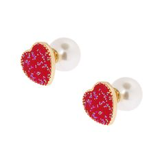 Red Heart and Pearl Front and Back Earrings | Icing