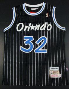 NBA Orlando Magic All Star Shaquille O Neal Black White Blue Retro  Pinstripe Basketball Jersey 32 1ed70f4f7