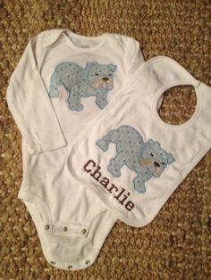 Citadel Bulldog baby gift set by SewBabyBaby on Etsy, $22.00