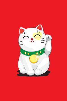 Lucky Wallpaper, Cat Wallpaper, Cartoon Wallpaper, Iphone Wallpaper, Cellphone Wallpaper, Maneki Neko, Neko Cat, Crazy Cat Lady, Crazy Cats