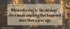 True Elf Facts #long lives #short attention spans
