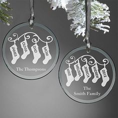 Personalized Ornaments - Family Christmas Stockings - etched glass -- idea for shrink plastic Personalized Christmas Ornaments, Diy Christmas Ornaments, Christmas Projects, Glass Ornaments, Xmas, Personalized Family Gifts, Christmas Tree, Painted Ornaments, Family Christmas Stockings