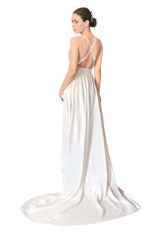 Brides.com: . Silk wedding dress with crystal and fabric floral straps and waistline, Temperley Bridal  See more Temperley Bridal wedding dresses.