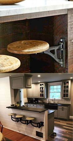 Swing arm stools are great seating option for tiny kitchen. – Designs For Home Decor Ideas Swing arm stools are great seating option for tiny kitchen. Swing arm stools are great seating option for tiny kitchen. Home Renovation, Home Remodeling, Kitchen Renovations, Small Kitchen Remodeling, Diy Kitchen Remodel, Kitchen Storage, Kitchen Decor, Kitchen Stools, Bar Stools