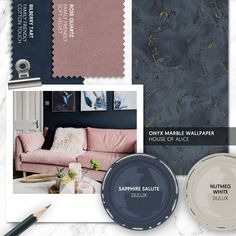 Monday Moodboard - For the perfect balance of light and dark, pair pretty blush pink with deep, dark navy. Add touches of gold and marble to create a luxurious living room. Blue And Pink Living Room, Blush Living Room, Navy Living Rooms, Living Room Sofa, Navy Living Room Wallpaper, Dark Blue Rooms, House Color Schemes, Living Room Color Schemes, Pink Sofa