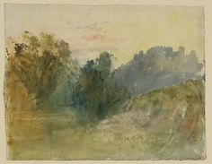 J. M. W. Turner : Trees beside Water, with a Castle on a Hill Beyond c.1820–40 #LandscapingOnAHill