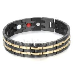 Mens Stainless Steel Gold Black Tone Health Powerful Bracelet Chain with Magnets…