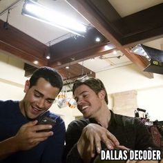 """Jesse Metcalfe and Josh Henderson take a break from filming the first-season #DallasTNT episode """"Revelations,"""" which debuted Aug. 8, 2012."""