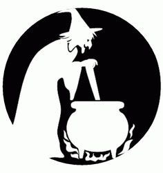 halloween witch with cauldron stencil free pumpkin carving
