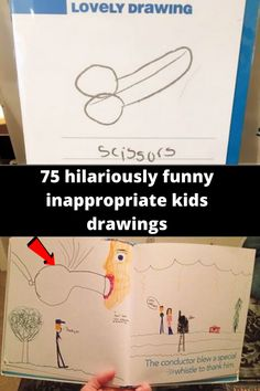 75 'innocent' kids drawings that are actually hilariously inappropriate Funniest Kid Test Answers, Kids Test Answers, Drawing For Kids, Drawing S, Funny Kid Drawings, Drunk Texts, Drunk Humor, Character Names, School Memes