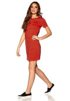 VILA Tinny S/S Dress Mandarin Red/Total E Bubbleroom.no