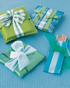 Use odd bits of felt and ribbon (wide grosgrain works well) for these gift wraps that can be saved and used as protective coverings for books, diaries, and pencils.