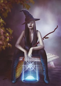 Witch - beauty and magic . by TatyanaHappy on DeviantArt Fantasy Witch, Gothic Fantasy Art, Fantasy Art Women, Witch Art, Witch Pictures, Witch Photos, Halloween Pictures, Witch Pics, Beautiful Witch