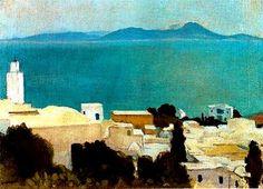 """Albert Marquet - """"Minaret à Sidi Bou Saïd"""" (1923)  Huile sur panneau (22 x 27)"""