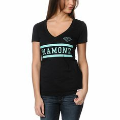"Let the Collegiate V-neck tee from Diamond Supply Co. will keep you company during those long nights of studying. This black Diamond tee features short sleeves, v-neckline, slim fit, and the mint teal Collegiate text ""Diamond"" with a Diamond logo on the front in mint teal. Pair with sweats or skinnies so you can get straight A's, in style at least."