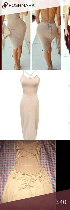 BEIGE SCRUNCH BACK CRISS CROSS BACK DRESS *NWT* BRAND NEW -  Light BEIGE SCRUNCH BACK CRISS CROSS BACK DRESS *NWT*. FEELS AMAZING ON THE SKIN. THIN YET NOT SEE THROUGH. Perfect for those summer nights out . Size small / could fit a small medium too I think.  - I have the same dress in black ! Brought from an online boutique . THINKVINTAGEONLINE Dresses Midi