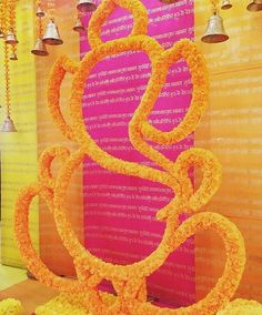 Deity Ganesh- Represents an elephant which represents Wisdom Stage Decorations, Indian Wedding Decorations, Flower Decorations, Mehendi, Mehndi Decor, Wedding Mandap, Wedding Stage, Wedding Venues, Foto Snap