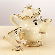 Classic Mrs. Potts & Chip Disney Sculptures Crafted of hand-painted Lenox ivory fine china accented with 24 karat gold license by Disney, which has reviewed this product for quality and authenticity!