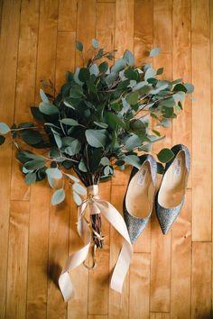 a simple eucalyptus wedding bouquet with a blush ribbon wrap Eucalyptus Bouquet, Eucalyptus Wedding, Eucalyptus Leaves, Simple Bridesmaid Bouquets, Bohemian Bridesmaid, Bride Bouquets, Greenery Bouquets, Flower Bouquets, Ideas
