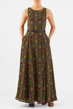Mother of the bride / groom Floral print crepe pleat neck maxi dress from eShakti