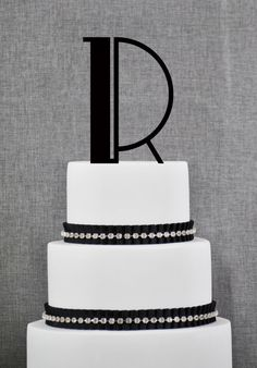 ON SALE Art Deco Initial Cake Topper - Initial Wedding Cake Topper by Chicago Factory - A B C D E F G H I J K L M N O P Q R S T U V W X Y Z
