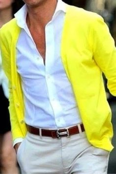Men's wear- yellow cardigan with white and beige