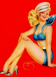 vintage print illustration sailor nautical hot pants hat heels pin up retro girl blonde suit romper navy Pinup Art, Pin Up Tattoos, Girl Tattoos, Pin Up Girl Vintage, Retro Vintage, Uñas Pin Up, Comic Art, Pin Up Illustration, Illustrations