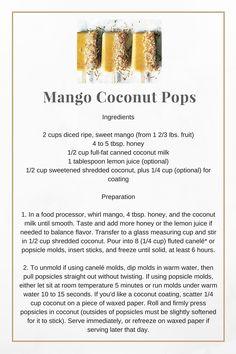 Canned Coconut Milk, Tasty, Yummy Food, Shredded Coconut, Wine And Beer, Food Processor Recipes, Mango, Lemon, Fruit