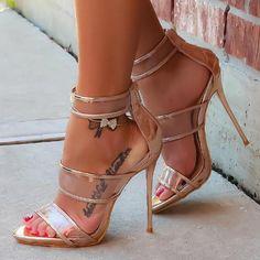 Strappy Open Toe Stiletto Sandal Heels