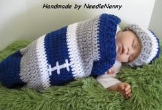 Dallas Cowboy Baby Cocoon Set Football Cocoon Sport Cocoon Swaddle Sack  Crocheted...how to convert?