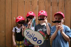 Mario Photo booth. Made the hats and mustaches with felt