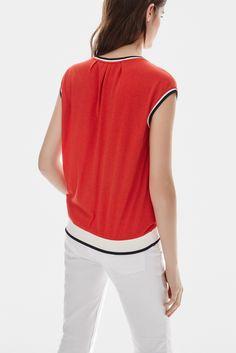 Camiseta roja de inspiración marinera - camisas y camisetas | Adolfo Dominguez shop online
