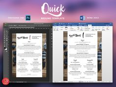 QUICK... is the fastest and easiest resume template to make your own. Aimed at job seekers with limited experience. This is the perfect starter resume template to make you look good. Included is a full single-page Resume and Cover Letter. Your first impression starts with your Resume / CV, make it look the best you can with this template. Quickly customize this in either Adobe Photoshop or Microsoft Word. Change fonts, colors, background photos and more to make it look exactly how you want.