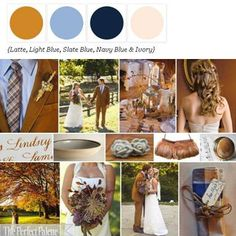 Rustic chic palette of Latte, Shades of Blue + Ivory via The Perfect Palette. xo