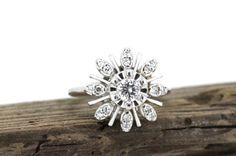 Vintage Diamond Ring Starburst Ring Atomic by FergusonsFineJewelry