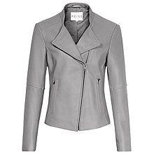 Buy Reiss Jenn Collarless Biker Jacket, Grey Online at johnlewis.com