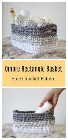 Crochet basket 754353006320360917 - Ombre Basket Free Crochet Pattern Source by Crochet Rug Patterns, Crochet Basket Pattern, Knit Basket, Crochet Baskets, Crochet Rugs, Basket Weaving, Pattern Fabric, Crochet Simple, Free Crochet