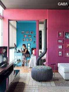 Paredes: azul e rosa. Apartamento mineiro de 70 m² com inspiração espanhola - Casa