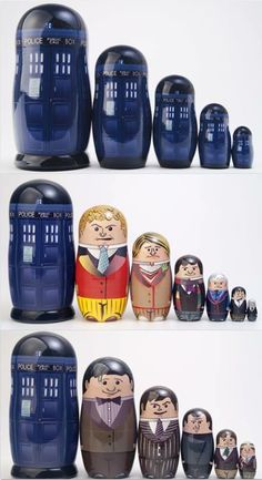 Doctor Who nesting dolls novelty handmade collectibles by Frank's Autographs. More proof that the TARDIS is bigger on the inside! Dr Who, The Doctor, Eleventh Doctor, Brainstorm, Die Tardis, Doctor Who Craft, Doctor Who Decor, Police, Torchwood