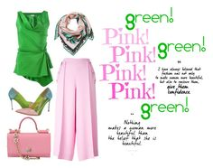 """""""How to wear pink and green"""" by obsessedaboutstyle ❤ liked on Polyvore featuring STELLA McCARTNEY, Emilio Pucci, Lanvin, Dolce&Gabbana, Summer, Pink, GREEN and polyvoreeditorial"""