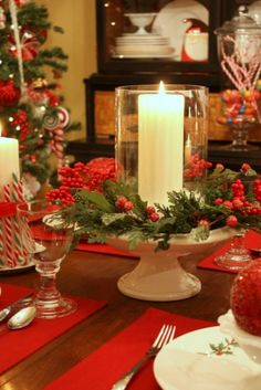 More Christmas Tablescape Ideas. Anything white, silver, clear glass, red, gold, etc. can become a Christmas decoration when used like these pcs.