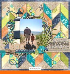 Lake Michigan scrapbook page Beach Scrapbook Layouts, Vacation Scrapbook, Kids Scrapbook, Scrapbook Designs, Scrapbook Sketches, Scrapbook Paper Crafts, Scrapbooking Layouts, Scrapbook Cards, Kiwi Lane Designs