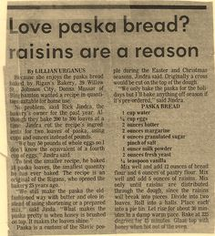Paska Easter Bread.  Newspaper clipping from Binghamton, NY 1968. Best bread in the world!