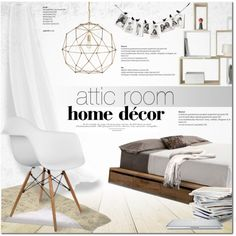 Attic room by purpleagony on Polyvore featuring interior, interiors, interior design, home, home decor, interior decorating, MASH Studios, Currey & Company and Public Library