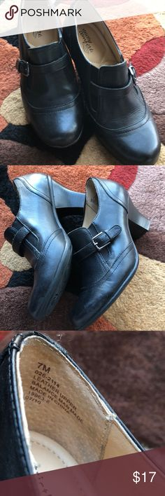Strictly Comfort black shoes Slip on heeled shoes with a Velcro panel for comfort and cute buckle detail on the sides! Strictly Comfort Shoes Heels