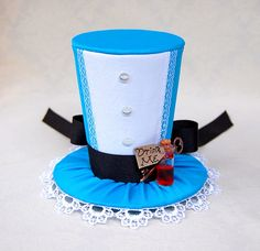 Tiny Top Hat: Alice In Wonderland - Lolita Cosplay Costume Party Fascinator Photo Photography Prop Wedding Tophat Small Miniature little. $48.00, via Etsy.