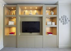 Smooth modern built in display cabinet bespoke furniture. Fitted Bedroom Furniture, Fitted Bedrooms, Tv In Bedroom, Living Room Furniture, Aqua Bedrooms, Kitchen Furniture, Bed Room, Furniture Ideas, Built In Tv Cabinet